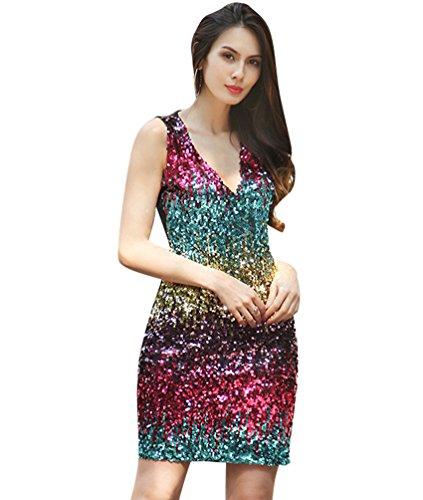 NiSeng Damen Reizvoller Tiefer V-Ausschnitt Buntes Pailletten Glitzer  Bodycon Stretchy Minipartei-Kleid Blau