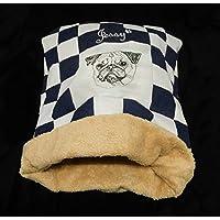 LunaChild Hunde Kuschelhöhle creme jeansblau Hundebett Mops 3 Name Snuggle Bag Größe S M oder L in 14 Farben erhältlich
