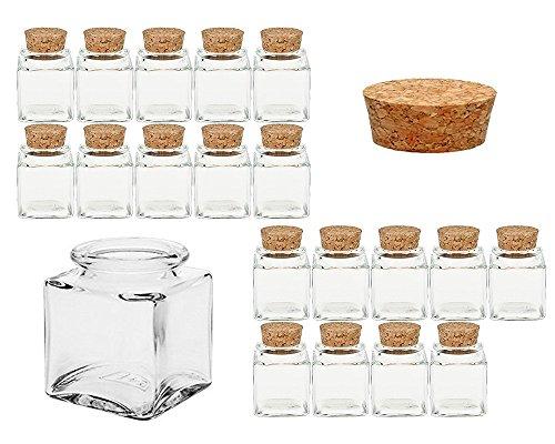 Gewürzgläser Set mit Press-korken | 24 teilig | Füllmenge 50 ml | Cub Eckig Hochwertiges Glas | Glasdose Glasgefäß ideal für Salz Pfeffer Sonnenblumenkerne kürbiskerne Kandis Bonbons Korkengläser