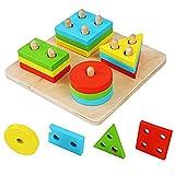Vi.yo Form Geometrisches Sortierbrett - Stapel Hölzernes Pädagogisches Spielzeug Holz Gehirn Teaser Puzzles für Kinder 1-3 Jährig