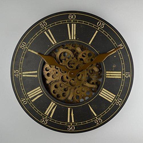 Métal mur précise horloge --- 18 Pouces Couleur Vintage Bois + Plastique + Métal Horloge Murale Salon Chambre Horloge --- 1 x pile AA (non inclus)