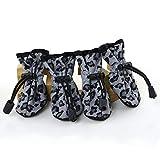 #8: Ocamo 4Pcs Pet Dog Cat Anti-Slip Sole Boots Waterproof Leopard Puppy Protective Rain Shoes Black M