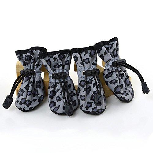 Etbotu 4Pcs Haustier Hundekatze Anti Rutsch alleinige Aufladungen wasserdichte Leopard Welpen schützende Regen Schuhe (Männer-keil-schuhe)