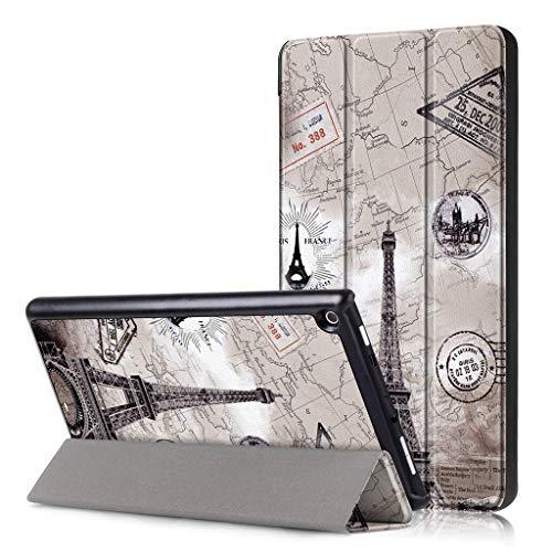 Y56 Ultra Slim Smart Leder Tasche Case Cover Hülle für Amazon Kindle Fire HD8 2018 Trifold Luxus Schlank Fall Abdeckung für Sleep/Wake (D) (1. Und Fälle Abdeckungen Fire Kindle)