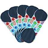 Women Bamboo Reusable 8 - 11 Inch 3 Sizes Cloth Sanitary Pads Napkins For HEAVY Flow OVERNIGHT 5 Pack Set