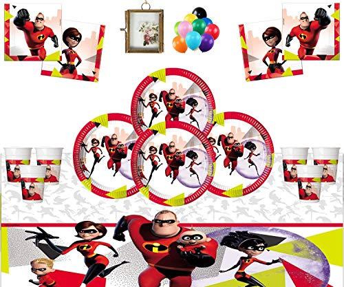Despicable Me Unglaubliche Party Supplies Kinder Geburtstag Party Geschirr Pack Disney Pixar Incredibles Party Dekorationen für 16 Gäste-Kostenlose Foto Frame & ()