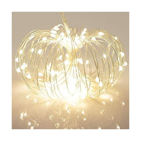 100 LED Outdoor Battery Fairy Lights w/ Remote & Timer – (8 Modes, Dimmable, IP65 Waterproof, 11M Copper Cable, Warm White) 510Cy3hDkKL