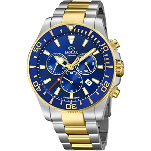 Uhr Jaguar Ritter Executive Crono Stahl bicolor Zifferblatt Blau