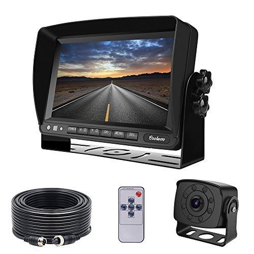 "Coolwoo Backup Kamera-Kit, 7\"" TFT LCD Kfz-Monitor + 8 IR-LED Rückfahrkamera mit Nachtsicht, 175 ° Winkel, IP68 + 20m Anschlusskabel Für LKW/Wohnmobil /Bus/Anhänger (12-32 Volt)"