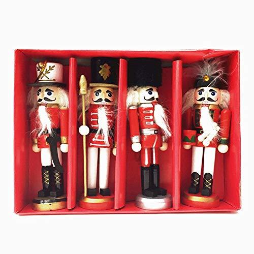 Krystallove Weihnachten hölzerne Nussknacker Soldat Ornamente - Satz von 4 Holz Designs & Farben Spielzeug - Ideal Xmas Marionette Baumschmuck - perfekte Puppe Party Decor