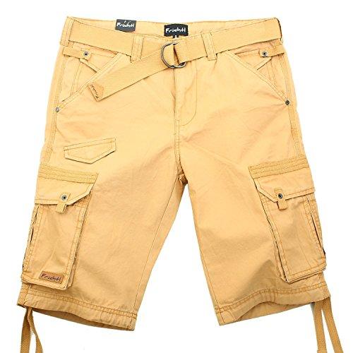 Herren Cargo Shorts mit Gürtel kurze Hose Bermuda Männer Sommer, khaki, W34 (Lieblings-khaki)