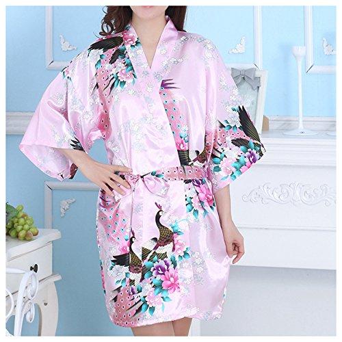 LQZ(TM) Femme Sexy Peignoir Kimono Soie Satin Courte Paon Fleur Exotique Robe Chambre Chemise de Nuit rose clair