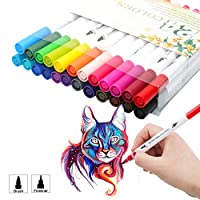 Dual Tip Watercolor Brush Pen Marker Set Fineliner Painting Flexible Highlighter Art Markers Projects for Adult kids Coloring Books,Sketching,Drawing,Lettering,Journaling,Calligraphy (24 Colors)