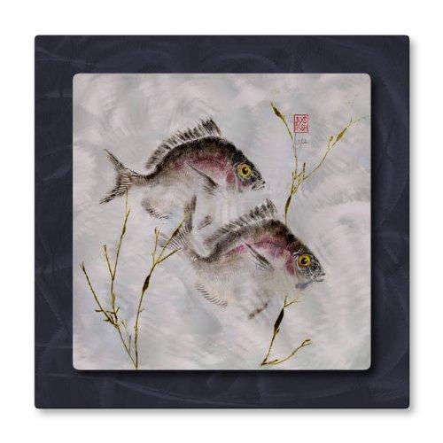 In metallo da appendere alla parete pesce in USA, Scultura Arte 2porgies in Alghe