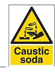 """vsafety 6a030an-s """"Sosa cáustica"""" ADVERTENCIA sustancia y químicos señal, vinilo autoadhesivo, vertical, 150mm x 200mm), color negro/amarillo"""
