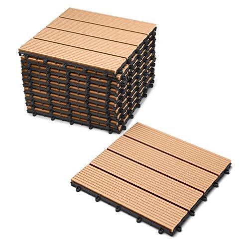 Teak-veranda-möbel (SAM® Terrassen-Fliese aus WPC Kunststoff, 11er Spar Set für 1 m², Farbe teak, Garten-Fliese mit 4 Latten, Balkon Bodenbelag mit Drainage Unterkonstruktion, Klick-Fliesen)