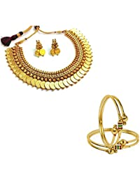 Penny Jewels Alloy Golden Necklace With Earrings Set & Bangles Set For Women & Girls