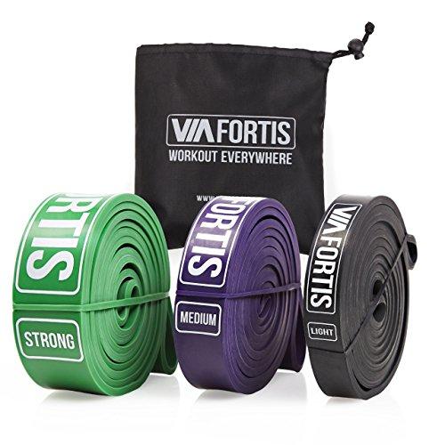 VIA FORTIS Premium Fitnessbänder mit praktischer Tasche - Klimmzug-Band für CrossFit Calisthenics oder Freeletics Workout - Resistance Band / Widerstandsband in MEDIUM (Lila)