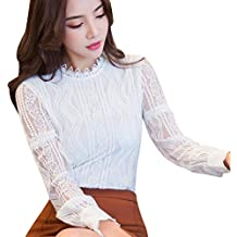Bekleidung Longra❤ ❤ Longra Damen Bluse Spitzenbluse Elegant Lace Blusen  Spitze Langarmshirt OL 6c0cc94c48