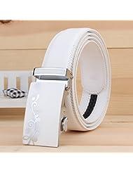 AQAQ Flor De Cinturones Hebilla Automático Blanco Negocios Correa Cuero Los Hombres De , Zx-334 White
