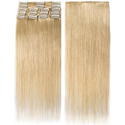 Extension clip capelli veri naturali umani remy human hair extensions clip in 8 pcs lisci lunga 55cm pesa 75g, #24 biondo naturale