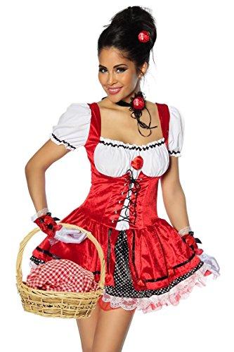 Rotkäppchenkostüm  - rot/schwarz/weiß XS-M