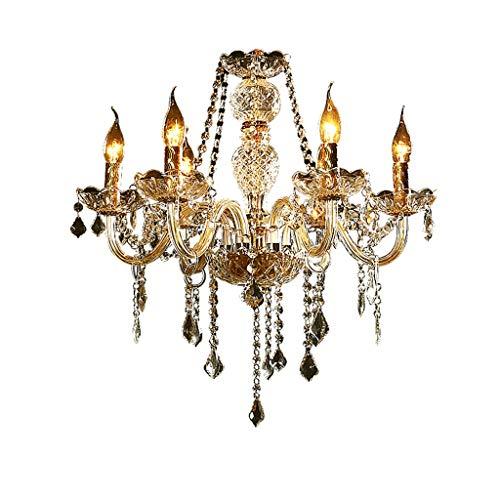 #Kronleuchter Crystal Chandelier-6 Kopf Wohnzimmer Schlafzimmer Restaurant Hochzeit Gold Kerze Kristalllampen Einfache europäische Beleuchtung #Kronleuchter (Color : White light) -