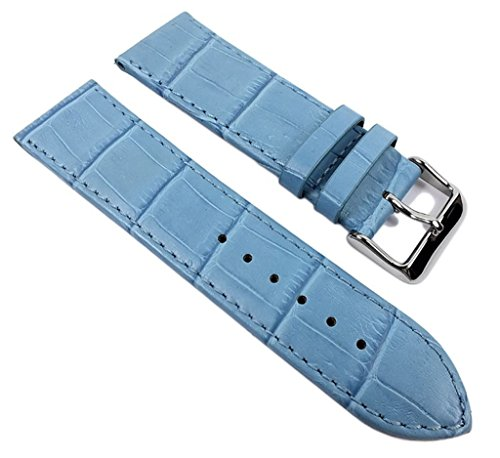 Minott Big Fashion - Louis. Prägung Ersatzband Uhrenarmband Kalbsleder Band Blau 21926S, Anstoß:28 mm