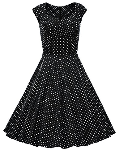 o Audrey Hepburn Schwingen Pinup Polka Dots Rockabilly Kleid Black White Dot S ()