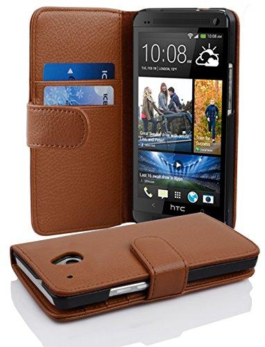 Preisvergleich Produktbild Cadorabo Hülle für HTC ONE M4 Mini - Hülle in Cognac BRAUN - Handyhülle mit Kartenfach aus struktriertem Kunstleder - Case Cover Schutzhülle Etui Tasche Book Klapp Style