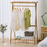 ZXYMJ Kleiderhaken Bambus Garderobenständer Kleiderständer Schuhablage Kleiderstange Rollen Kleiderstang Nivellierfüße (Farbe : 1, größe : 90cm)