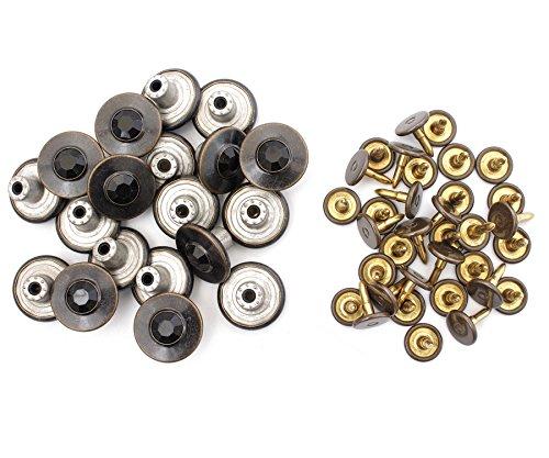 17mm Ottone Jeans Bottoni Nero Strass e perni con fissaggio Strumento A Mano JB42 by Trimming Shop - 20, Jeans Buttons ONLY