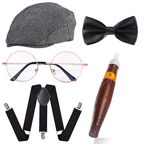 Haichen 1920er Jahre Herren Gatsby Gangster Kostüm Zubehör Set - Gatsby Newsboy Baskenmütze Hut Hosenträger Pre gebunden Fliege Brille Spielzeug gefälschte Zigarre (Weißer Streifen)