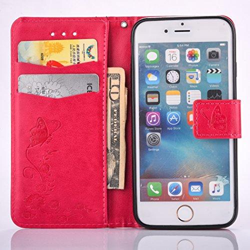 iPhone 6 Plus Coque,Cozy Hut Coque iPhone 6 Plus Case Housse Étui en PU Cuir Bumper Flip Cover Bookstyle Support Cartes Slots Ultra Mince Léger Fermeture Aimantée Étui iPhone 6 Plus Coque Motif Gravé  rouge
