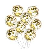 KUUQA 12 Stück Gold Konfetti gefüllte Transparente Luftballons 30 cm (12 Zoll) für Hochzeit Geburtstagsfeier und Part Dekorationen