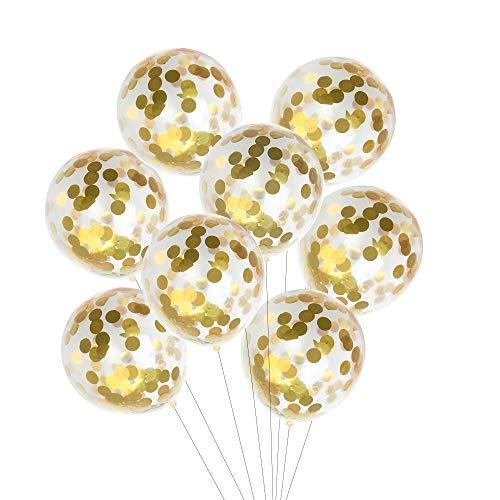 Kuuqa 12 piezas de confeti de oro lleno de globos claros de 12 pulgadas para las decoraciones de la fiesta de cumpleaños de la boda