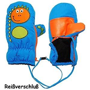 alles-meine.de GmbH Fausthandschuhe – mit Reißverschluß & langem Schaft – Größen: 9 Monate bis 4 Jahre –  lustiger Dinosaurier – mittel blau  – LEICHT anzuziehen ! mit Daumen -..