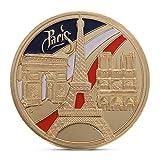 LhiverFR Pièce commémorative Édifice de la série Paris Tower Art Gift BTC Bitcoin Alloy