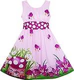 Mädchen Kleid Pilz Blume Gras Drucken Polka Punkt Gürtel Lila Gr.134