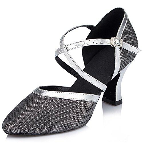 Yff Cadeau Femmes Chaussures De Danse Latin Danse De Salon Tango Chaussures De Danse 7cm Argent Noir