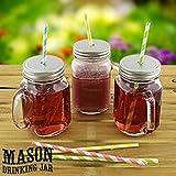 2 X Set of 4 Mason Glass Drinking Jars with Lid & Handle