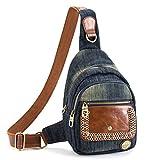 Daypacks, iTECHOR Jeans und PU-Leder-Frauen-Dame Girl Chest-Taschen-Umhängetasche Dreieck-Rucksack
