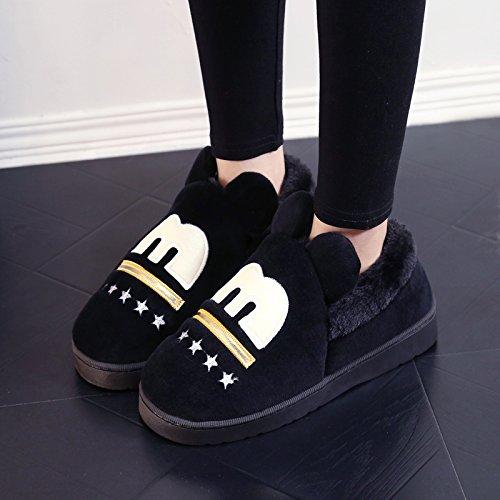 Y-Hui in inverno di cotone femmina pantofole Casa arredamento per interni di spessore antislittamento caldo pantofole pantofole gli amanti del maschio,38/39 (Fit per 37-38 piedi),Nero