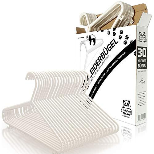 Babylovit 30 Stück Kinderkleiderbügel | starke & formstabile Babykleiderbuegel in weiß | für Baby- und Kinderbekleidung - Perlen-3 Stück-hose