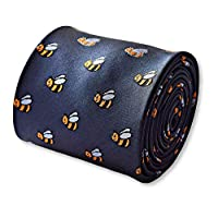 Frederick Thomas navy tie with bumblebee design with signature floral design to the rear