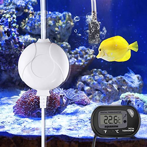 Karidge Aquarium Pump Leise Sauerstoffpumpe Aquarium Mini Luftpumpe Für Aquarium Oxygen Luftpumpe Für Aquarium mit Air Stone und Silikonschlauch Membranpumpe für Aquarien (mit Thermometer)