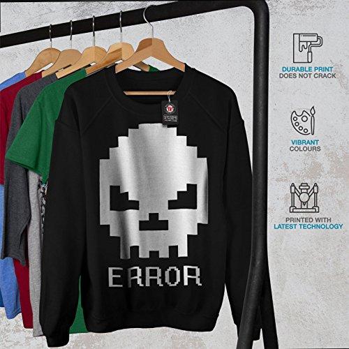 Erreur Nerd Crâne Geek Femme S-2XL Sweat-shirt | Wellcoda Noir