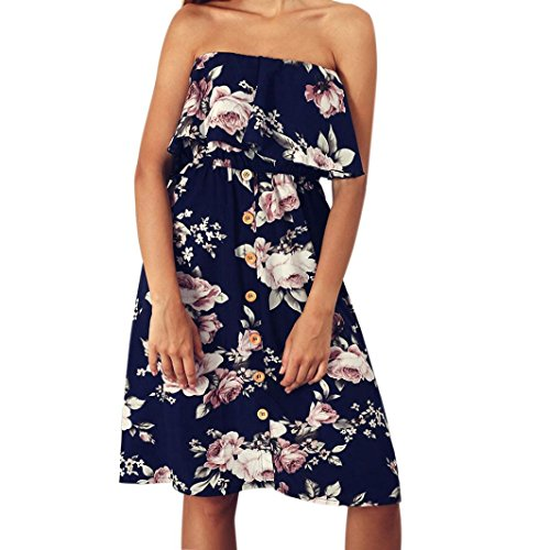 Women Summer Floral Print Off Shoulder Casual Dress Ladies Fashion Sexy Strapless Knee-Length Dress Button Sleeveless Floral Cotton Dress Daily Beach Party Dress