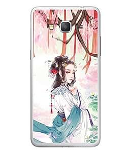PrintVisa Designer Back Case Cover for Samsung Galaxy Grand Neo Plus I9060I :: Samsung Galaxy Grand Neo+ (Lovely Painting of Attractive Japenese Girl in Garden )