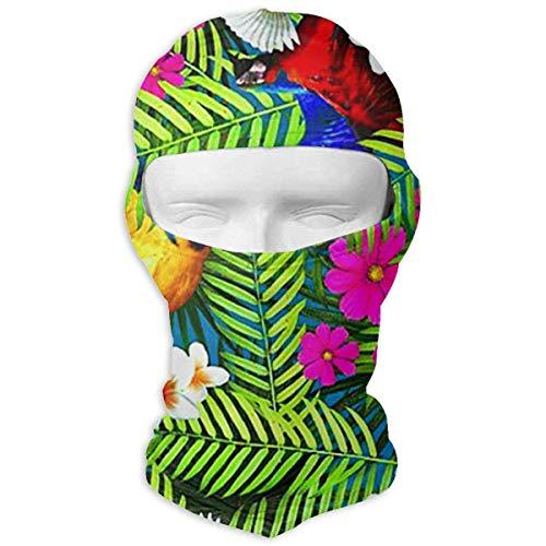 Vidmkeo Parrot Birds Tropical Plants Balaclava Face Mask Hood for Neck Gaiter Headwear Helmet Liner (Gear Parrot Head)